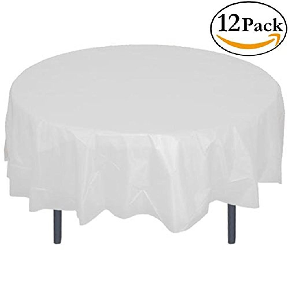 Amazon.com: 12-Pack Premium Plastic Tablecloth 84in. Round Table Cover -  White: Kitchen & Dining