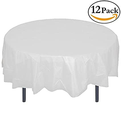 12 Pack Premium Plastic Tablecloth 84in. Round Table Cover   White