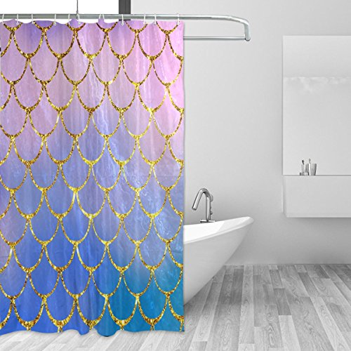 ZOEO Shower Curtain Purple Mermaid Scales Marble Fish Light Summer Gold Bathroom Shower Curtain Set Fabric Bridal 12 Hooks Waterproof for Girl Women 72x72 - Girls For Shower Curtain Purple