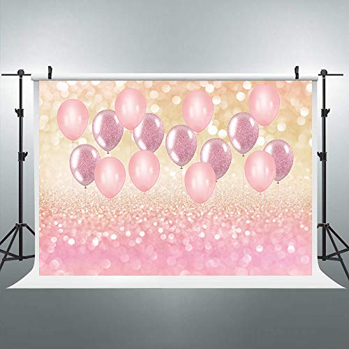 Riyidecor Pink Spots Backdrop Confession Balloon Photography Background Ombre Golden and Rose Pink 7x5ft Decoration Celebration Props Party Photo Shoot Backdrop Vinyl Cloth