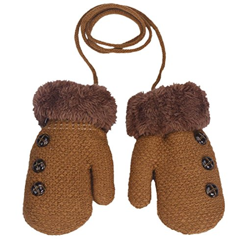DZT1968® 1 Pair Winter Baby Cute Thick Gloves Mittens With String (0-12 Months) (Khaki)