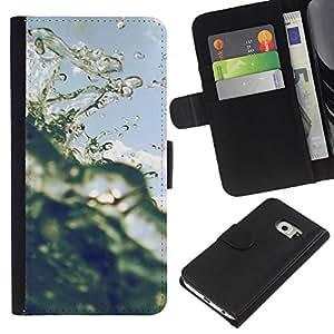 EJOY---La carpeta del tirón la caja de cuero de alta calidad de la PU Caso protector / Samsung Galaxy S6 EDGE / --Sun Surf Cielo Océano Florida California