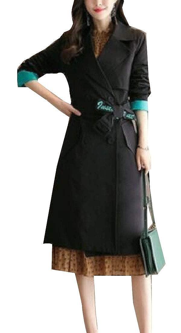 2 jxfd Women's Elegant Double Breasted Long Sleeve Trench Coat Outwear
