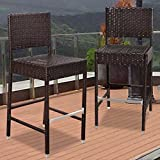 Strong Camel Dark Coffee Wicker Barstool Indoor Outdoor Patio Furniture All Weather Bar Stool–2 pcs