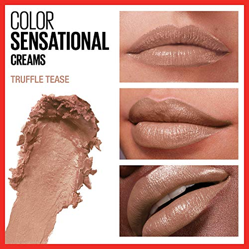 Maybelline Color Sensational Lipstick, Lip Makeup, Cream Finish, Hydrating Lipstick, Nude, Pink, Red, Plum Lip Color, Truffle Tease, 0.15 oz. (Packaging May Vary)