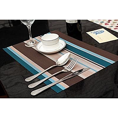 amorus Washable Placemats Heat Insulation Non-Slip Table Mats for Kitchen Dining Set of 6 - Blue - EASY to CLEAN: Eco-Friendly Kitchen Accessories, Made of high quality environmentally PVC, Very durable, easy to clean. Non-fading. Do not put it in dishwasher, wipe clean with a damp cloth. ANTI-SCRATCHES: Protect your table from scratches and stains, Also not easy to slip. Do not deal with liquid. ELEGANT DESIGN: Perfect addition to your dinner table,beautiful stylish placemats to add more fun to your kitchen table. - placemats, kitchen-dining-room-table-linens, kitchen-dining-room - 51oChmNMe%2BL. SS400  -