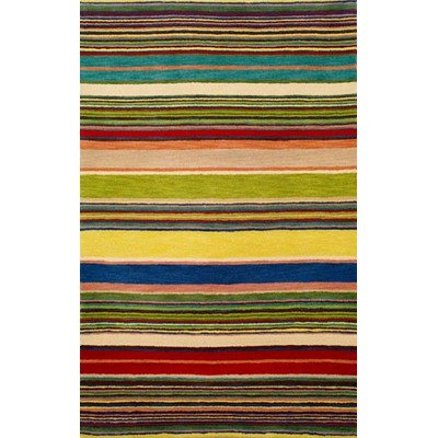 Inca Red/Multi Stripes Rug Rug Size: 3'6