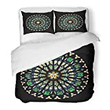 Emvency Bedding Duvet Cover Set Twin (1 Duvet Cover + 1 Pillowcase) Gothic Rose Stained Glass Church Window Round Cathedral Architecture Mosaic Stain Hotel Quality Wrinkle and Stain Resistant