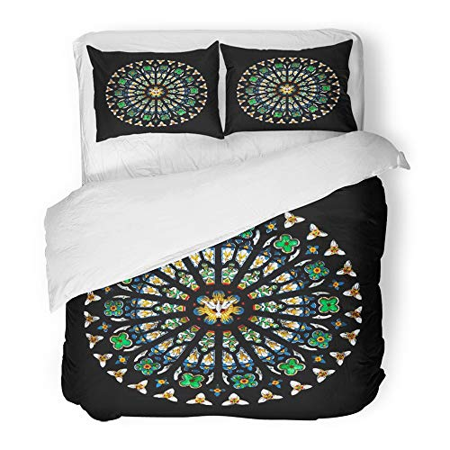 Emvency Bedding Duvet Cover Set Twin (1 Duvet Cover + 1 Pillowcase) Gothic Rose Stained Glass Church Window Round Cathedral Architecture Mosaic Stain Hotel Quality Wrinkle and Stain Resistant by Emvency