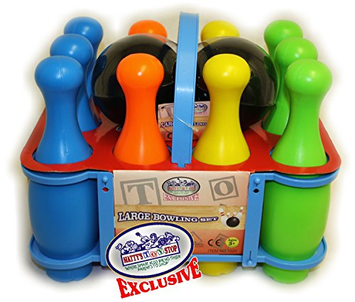 Matty's Toy Stop 10 Pin Multi-Color Deluxe Plastic Bowling Set for Kids with Storage Rack - 12 Pieces Total (10 Pins & 2 Bowling Balls)