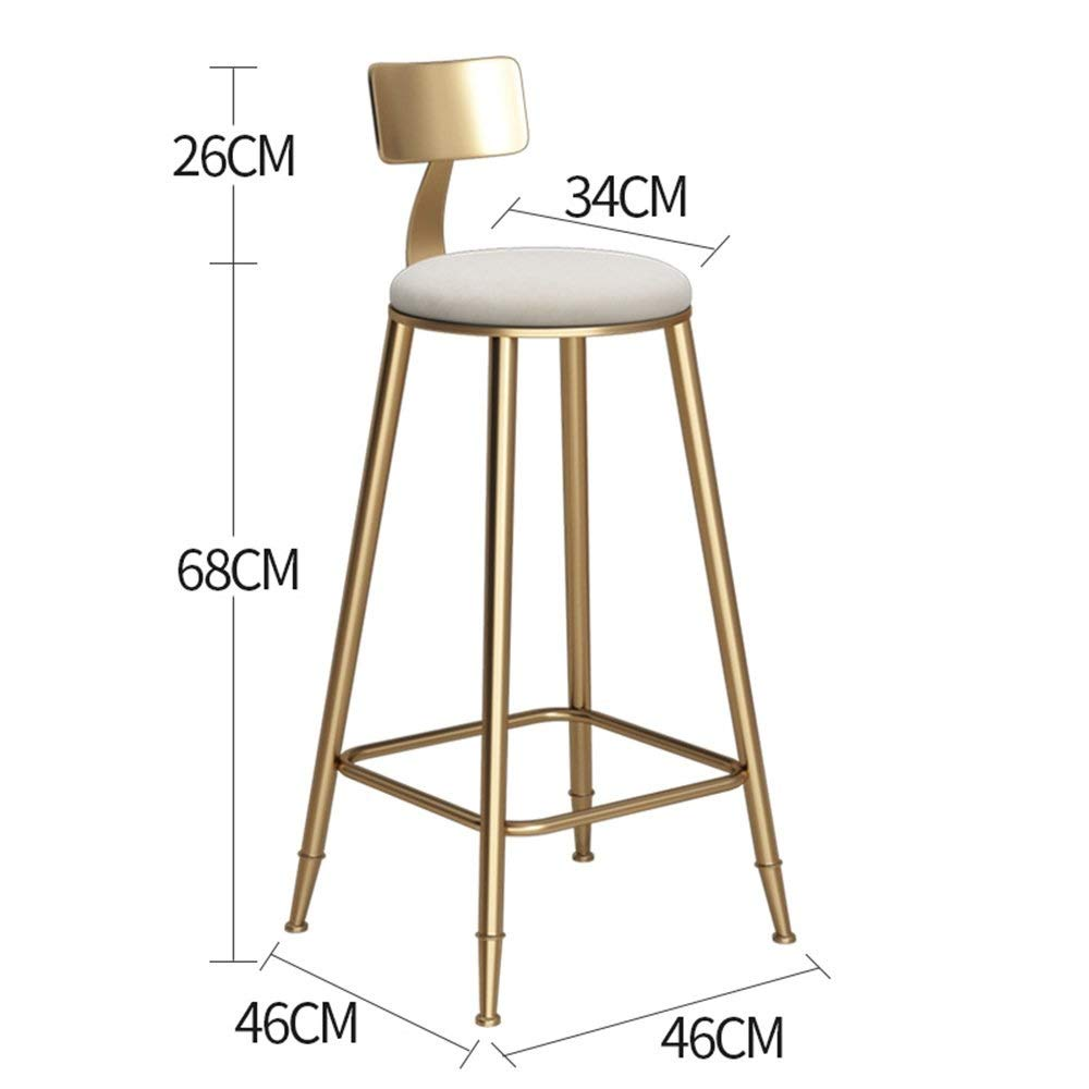gold-White 68cm DDLD Bar Stools, golden Iron Art Bar Chair Strong and Durable Bar Stool Table with Backrest Soft Padded Chairs color Height Optional for Breakfast Bar, Counter, Kitchen
