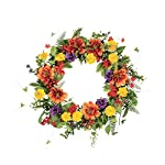 DCC-22-Artificial-Mixed-Flower-Wreath-Orange-Red-Yellow-Mix
