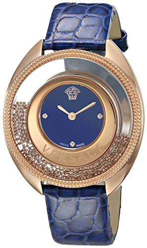 Versace-Womens-DESTINY-SPIRIT-Small-Swiss-Quartz-Stainless-Steel-and-Leather-Casual-Watch-ColorBlue-Model-VAR030016