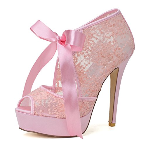 Shoes Women's Sarahbridal 29 Heel Toe SZXF3128 Wedding Prom Court Bridal Straps Platform with Pink Shoes High Peep Lace 7qqwBRx