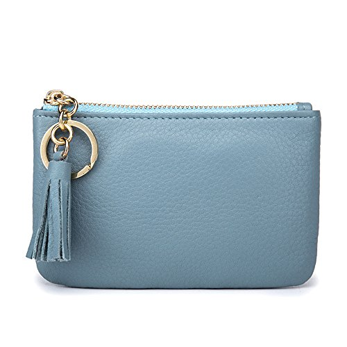 Aladin Wide Coin Change Purse Wallet with Key Ring & Leather Tassels Zip Tab Blue ()