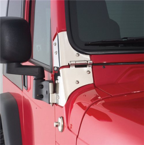 Smittybilt 8691 Door Mirror Relocation Bracket, 97-06 TJ Wrangler Black - PAIR