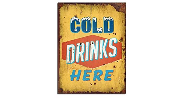 Bebidas frías aquí - (vintage/Retro/old) - pared de madera ...