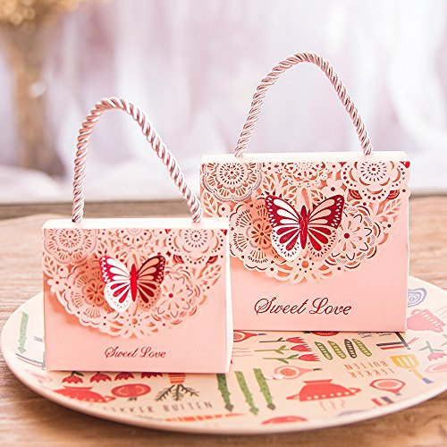 Eyxia Wedding Favor Boxes Flower Laser Cut Party Favors Bags Baby Shower Candy Gift Box Set Butterfly Event Decoration with Ribbons Wholesale 20pcs -
