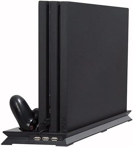 PS4 Pro Ventilador Vertical Stand Estación de acoplamiento de soporte, sistema de refrigeración de almohadilla doble para consola 2 Controlador de remoto Base de carga 3 concentrador de puerto USB: Amazon.es: Videojuegos