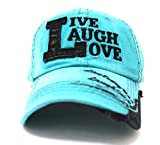 TURQUOISE/Black ''Live, Laugh, Love'' Patch on Vintage Cap w/ Contrast Stitch Writing