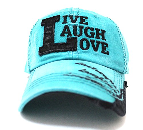TURQUOISE/Black ''Live, Laugh, Love'' Patch on Vintage Cap w/ Contrast Stitch Writing by CAPS 'N VINTAGE