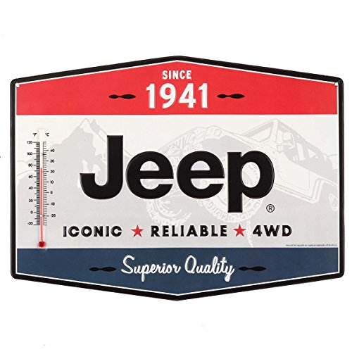 (Open Road Brands Vintage Retro Metal Tin Signs - Jeep Metal Thermometer - Great for Garages, Man Caves, Wall Art, Home Decor and Much More)