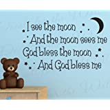 I See the Moon God Bless - Girl's or Boy's Room Kids Baby Nursery - Large Wall Decal Art Mural Letters, Adhesive Vinyl Lettering Quote Design, Sticker Graphic Decoration, Saying Decor