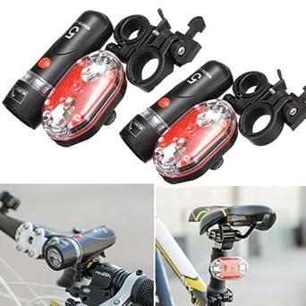 Juego de 7 modos de luz delantera para bicicleta, 5 luces LED + 9 linternas traseras LED de seguridad para fonda/luz trasera BK-13: Amazon.es: Iluminación