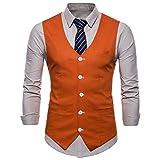 FULIER Men Slim Fit V Neck Double Breasted Business Casual Waistcoat Suit Vest (L, Orange)