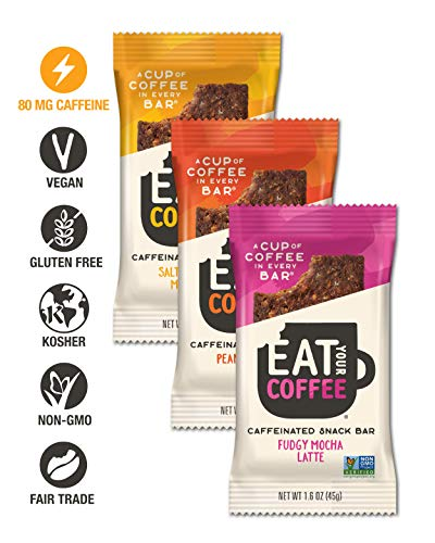 Eat Your Coffee Energy Bar Variety Pack | Vegan, Gluten Free, Non GMO, Kosher | Great Option for Tasty Caffeinated Natural Snacking | Ethically Sourced, Clean Ingredients | Real Food to Fuel Workouts