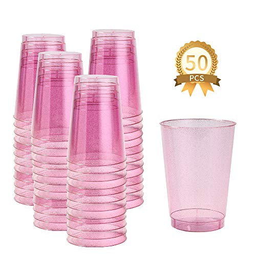 BGLROSOO 12 oz 50pcs Plastic Cups Disposable Pink Glitter Clear Party Cups Hard Plastic Wedding Glasses/Party Cocktail Cups