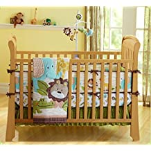 Cute Lion Safari Baby Boy 7 Pieces Nursery Crib Bedding Set With Bumper