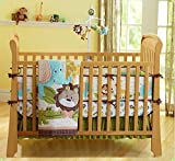 NAUGHTYBOSS Baby Bedding Set Cotton 3D Embroidery Forest Lion Elephant Giraffe Pattern Quilt Bumper Bedskirt Mattress Cover 7 Pieces Set Green Yellow
