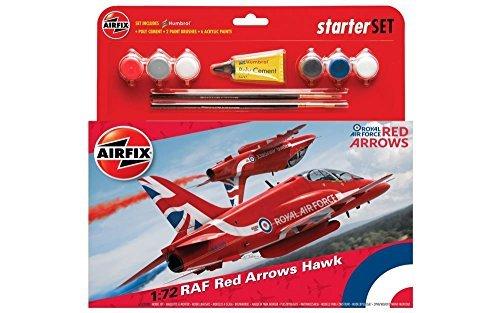 Airfix A55202B RAF Red Arrows Hawk Military Plastic Model Kit Gift Set (1:72 Scale) (Arrows Hawk Red)