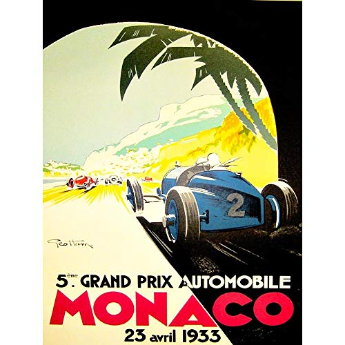 Wee Blue Coo Sport Advert Motor Race Grand Prix Monaco Monte Carlo Unframed Wall Art Print Poster Home Decor Premium
