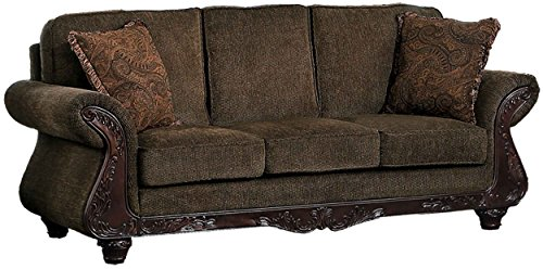 Homelegance Mandeville Classic Modern Sofa with Fine Wood Carving Curved Armrest Chenille, Brown