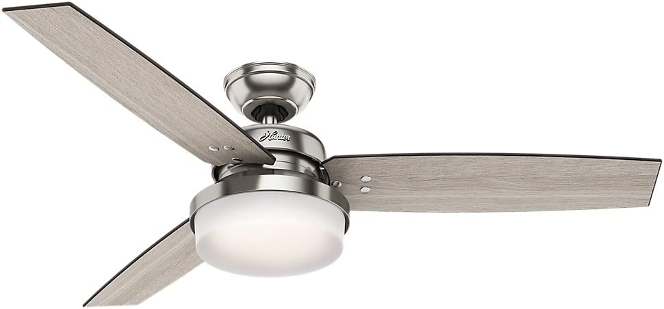 Hunter Indoor Ceiling Fan with LED Light and remote control - Sentinel 52 inch, Brushed Nickel, 59157