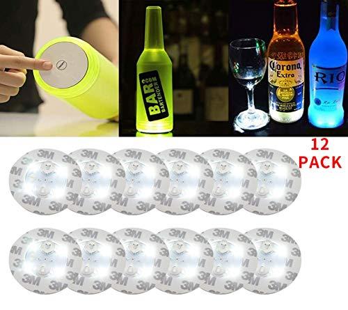 LED Coaster,12 Pack Light Up Coasters,LED Bottle Lights,Bottle Glorifier,LED Sticker Coaster Discs Light Up for Drinks,Flash Light Up Cup Coaster Flashing Shots Light