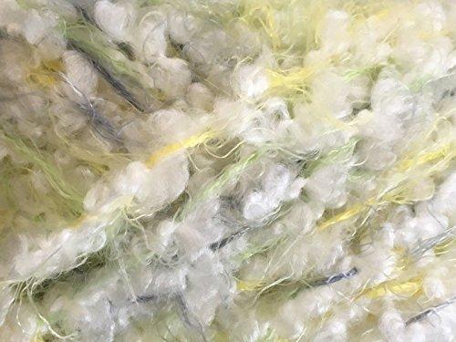 Dark Horse Yarns Spring #108 Yellow Green Slate White Eyelash Boucle Blend Soft 100 Gram
