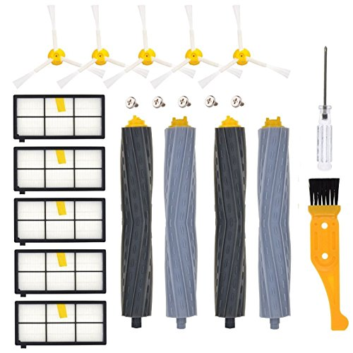 Price comparison product image DerBlue Replacement Parts for iRobot Roomba 860 880 805 860 980 960 Vacuums,  with 5 Pcs Hepa Filter,  5 Pcs 3-ArmedSide Brush,  2 Set Tangle-Free Debris Rollers, 1 Small Brush,  1 Screwdriver