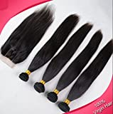 Junhair 3 Way Part 1Pc 4x4 lace closure with Virgin Philippines Remy Human Hair 3 Bundles Hair Weaves Mixed Length 4Pcs Lot Natural Straight Natural Color Can be Dyed