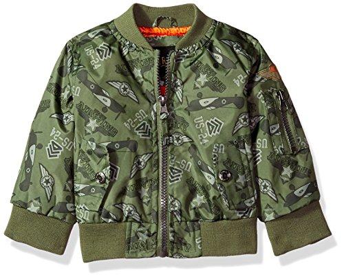 iXtreme Baby Boys Printed Flight Jacket, Olive, 24M
