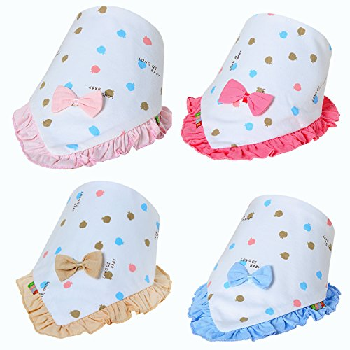 Cute Baby Bandana Drool Bibs For Girls.Personalized Scarf Bib Feeding & Teething. Fancy Baby Bibs And Burp Cloth Are Water Proof, Multi Layers. 100% Cotton Bibs For Shower, Holiday, Christmas Gift.