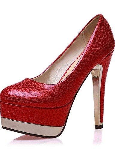 GGX/ Damen-High Heels-Büro / Lässig-PU-Stöckelabsatz-Absätze / Rundeschuh-Schwarz / Rot / Gold red-us9.5-10 / eu41 / uk7.5-8 / cn42