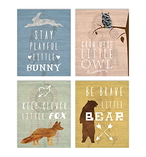 Woodland Nursery Collection Inspirational Animals 8x10quot Print Nursery Decor Kids Decor Animals Decor for Kids Motivational Art Inspirational Art