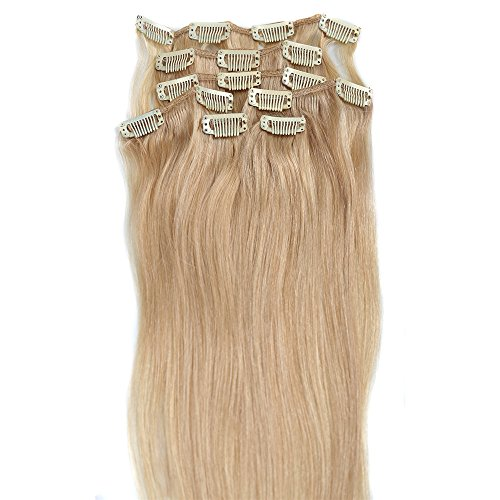 Blonde Hair Extensions, Grammy 22 Inch 7pcs Remy Clips in Human Hair Extensions 70g with Clips for Highlight(#24 Light Honey Blonde) ()