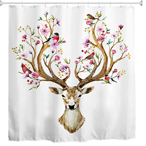 BROSHAN Antler Shower Curtain Fabric,Cute Colorful Flower Birds on Antler Spring Nature Art Printed,Polyester Waterproof Fabric Bathroom Decor Set with Hooks,72x72 Inch,White,Coffee Brown