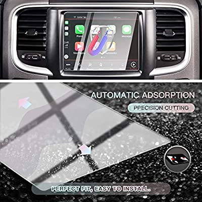 CDEFG Car Screen Protector Center Control Navigation Touch Screen Protector for 2013-2020 Dodge RAM 1500/2500/ 3500 Uconnect, Tempered Glass HD Scratch Resistance (2013-2020 RAM 8.4 inch)