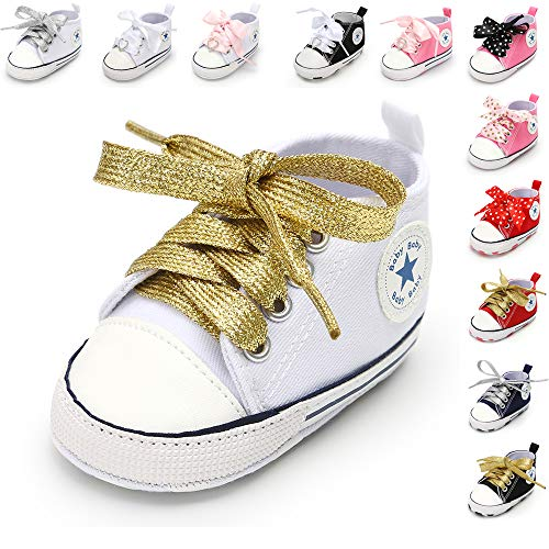 Infant Baby Boys Girls Star High Top Sneaker Soft Sole First Walkers Canvas Polka Dots Shoes Non Slip Bottom for 3-18 Months (Shoes Polka Kids Dots)