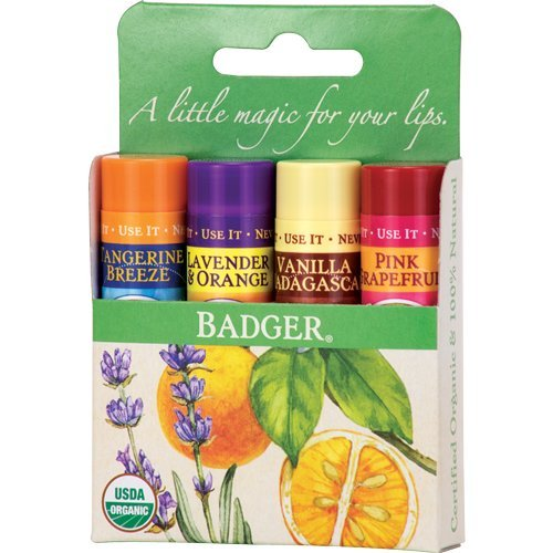 Lip Based Balm (Classic Lip Balm - Tangerine Breeze, Lavender & Orange, Vanilla Madagascar, Pink Grapefruit 4Pk)